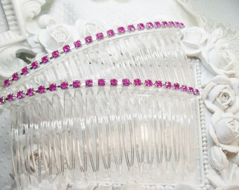 Extra Long Hair comb pair with Pink rhinestones, Pink rhinestone comb pair, XL side hair combs, XL combs, Prom hair comb, combs
