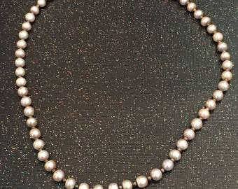 Sterling Pink Pearl Beaded Necklace
