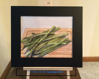 Original watercolor of Asparagus on a cutting board