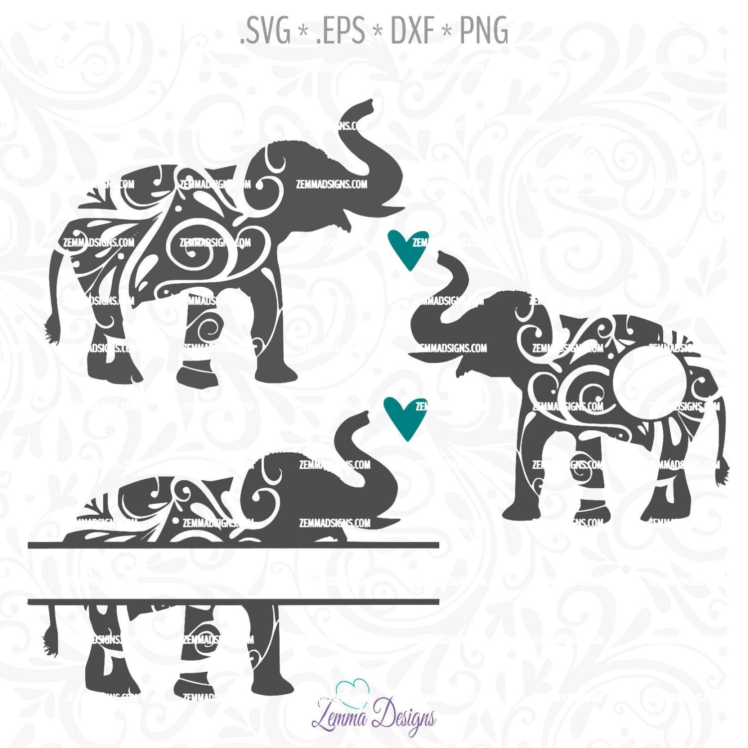 Download Elephant svg file Elephant cut file elephant monogram svg