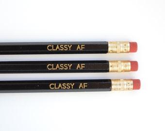 Stocking Stuffer - Pencils - Classy AF Pencils - Set of 3 Black Pencils - Gift Under 10
