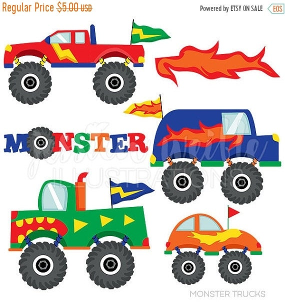 sale monster trucks cute digital clipart for commercial and personal rh etsystudio com monster truck tire clipart blaze monster truck clipart