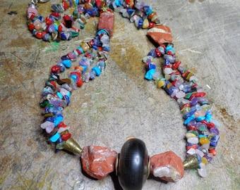 Mid-length necklace multicolored raw red jasper blend of gemstones, horn, metal bronze