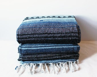 MEXICAN BLANKET // beach, yoga, adventure blanket, slate blue blanket, falsa blanket, vintage blanket, chuparosa
