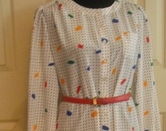 vintage 70s polks dot with novelty print Paint brush strokes Size Large .. cool and comfy and FAB
