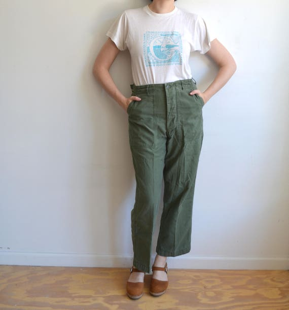 Vintage 60s OG 107 Army Green Utility Trousers/ Vietnam Era/Button Fly/ Sateen Cargo/ Size 27 wFQdPY