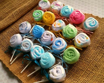 Baby Shower Favors - Lollipop Washcloth Favors - New Baby Gift - Set of 5