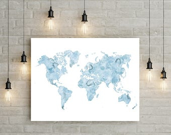 Blue watercolor world map, Printable world map, Large printable art, Map print