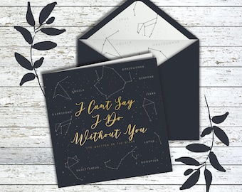 I can't say I do without you Constellation  Bridesmaid/Groomsmen invite card - Its written in the stars Navy