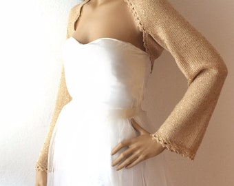 Gold Shrug, Bridal Shrug, Gold Evening Shrug, Sequin Shrug, Wedding Sweater, Bridal Cover Up, Wedding Bolero