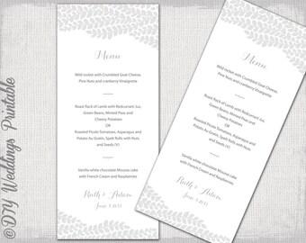"Wedding menu template -""Vine"" silver gray wedding menu -DIY wedding menu template, grey digital printable menu -EDITABLE instant download"