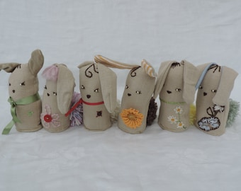 Unique, hand stitched bunnies with personality. Easter bunnies.