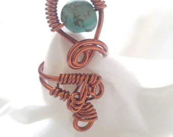 Copper Wire Ring, Turquoise Statement Ring, Ring Size 6, Copper Ring, Wire Wrap Ring, Ring, Handmade Ring, Wire Wrap Jewelry, Ring.