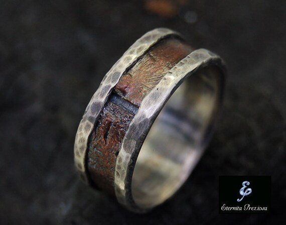 copper wedding ring rustic copper mens ring mens engagement ring mens wedding 3052