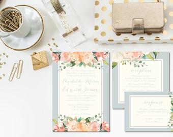 Lush Peach Wedding Invitation Suite | Light Blue