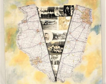 Collage Mixed Media Illinois Map Art Black White photo Family Families Chicago Springfield Carbondale Peoria Rockford Naperville acrylic