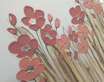 Blush Poppies after Rain 60x180cm by Naomi Crowther