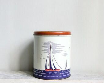 Vintage Tin Sailboat Canister
