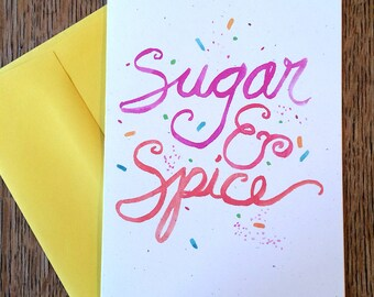 Sugar and Spice -- Watercolor Notecards, Hand Lettering