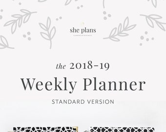 2018-19 Weekly Planner | 2018-19 Planner, Weekly Agenda, She Plans Planner, Weekly Diary, Academic Planner Style No. STAND1819/BWG