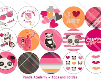 Panda Academy M2MG 1 Inch Circles Collage Sheet for Bottle Caps, Hair Bows, Scrapbooks, Crafts, Jewelry & More