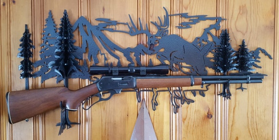 Gun Rack,Rifle Rack,Custom Rifle Rack,Metal Rifle Rack,Metal Cut Wall Rack,Plasma Cut Custom Gun Rack,Deer Scene,Mountain Scene,Deer Art