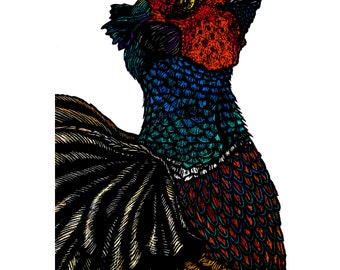 Wall Art, Pheasant  - Art Print - Giclee Signed - A4 - Common Pheasant - Portrait