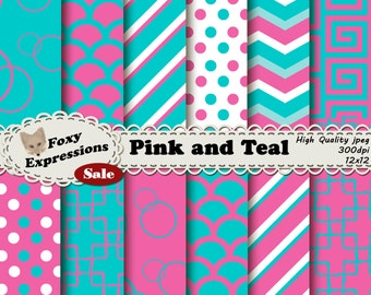 Pink and Teal comes together beautifully in stripes, chevrons, polka dots, damasks, scales, and bubbles for personal or commercial use.