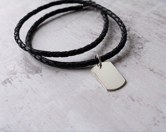 Mens Leather Necklace With Personalised Silver Dog Tag - Mens Jewellery - FREE ENGRAVING
