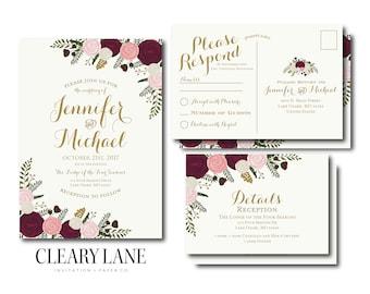 Vintage Wedding Invitation RSVP Postcard Info Card Set Fall Wedding Vintage Floral Floral Wedding Vintage Wedding Wedding Set #CL157