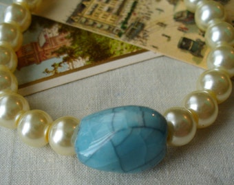Pearl Bracelet, Rustic Turquoise Stone Accent Bracelet, Cream White Pearl Bracelet, Turquoise Stone Bracelet, Stone Bracelet, MarjorieMae