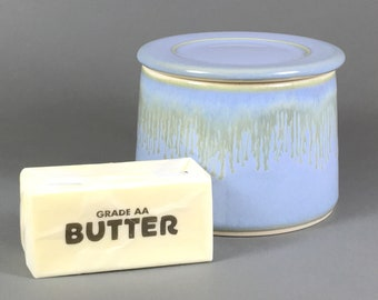 Powder Blue/ Light Brown Drip, French Butter Dish, Butter Crock, Butter Bell, French Butter Keeper