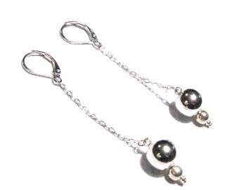 Silver 925, Pearl, chain earrings