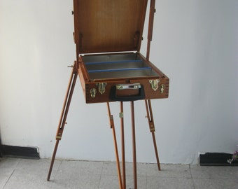 Rare Plein Air Quality Artist French Box Easel Mahogany Wood  (Made in Brazil)