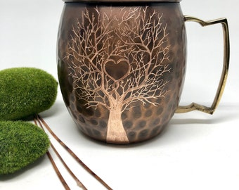 Moscow Mule Mug / Etched Tree Heart / Add Initials to Heart / Personalized Gift /  Anniversary Gifts / Wedding Gift / Bride and Groom Gift