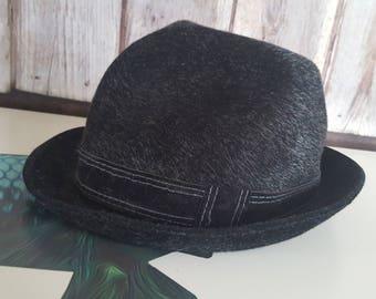 Vintage Diamant black suede faux fur trilby hat