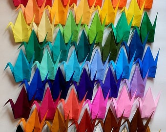 50 Different Colors - 50 Large Origami Cranes Origami Paper Cranes - Made of 15cm 6 inches Japanese Paper