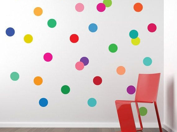 100 Polka Dot Wall Stickers, Polka Dots, Polka Decals, Confetti, Wall Art,  Polka Dot Decals, Polka Dot Stickers, Nursery Wall Stickers