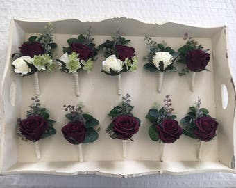 Artificial plum wine vintage x1 rose button holes with foliage and greenery, matching corsages, Boutonnieres