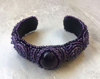 Amethyst Bead Embroidered Cuff Bracelet