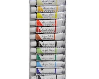 Acrylic Colors Complete 12 Count Paint Tubes 12ml Each, For Art Canvas, Wood Or Fabric Painting, High Quality Acrylic Paints For Art Working
