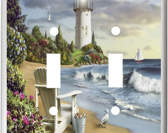 Lighthouse Beach Adirondack Beach Chair Ocean  Light Switch Cover Plate or Outlet Home  Decor  Free Shipping in U.S.!!!