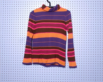 Vintage SEARS, ROEBUCK and Co. Vibrant Striped Turtleneck