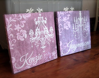 Personalized Chandelier Wall Hanging for Girl's Room