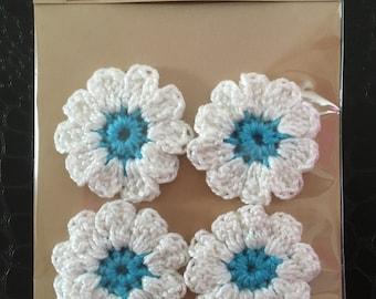 Crocheted White & Blue Flowers, Embellishments, Craft making, Appliqué