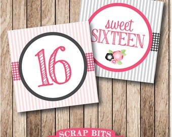 Instant Download . Printable Sweet Sixteen Tags, Printable Sweet 16 Favor Tags in Pink & Grey