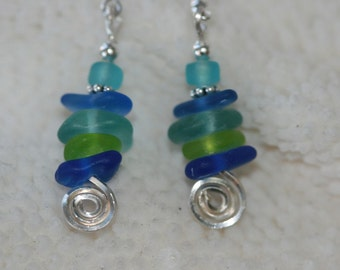 Sea spiral sea beach glass earrings and sterling silver