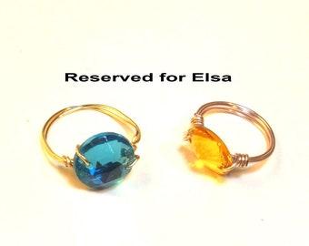 Reserved for Elsa - Aqua and Yellow Wire Wrapped Rings
