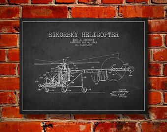 1943 Helicopter Patent, Canvas Print, Wall Art, Home Decor, Gift Idea