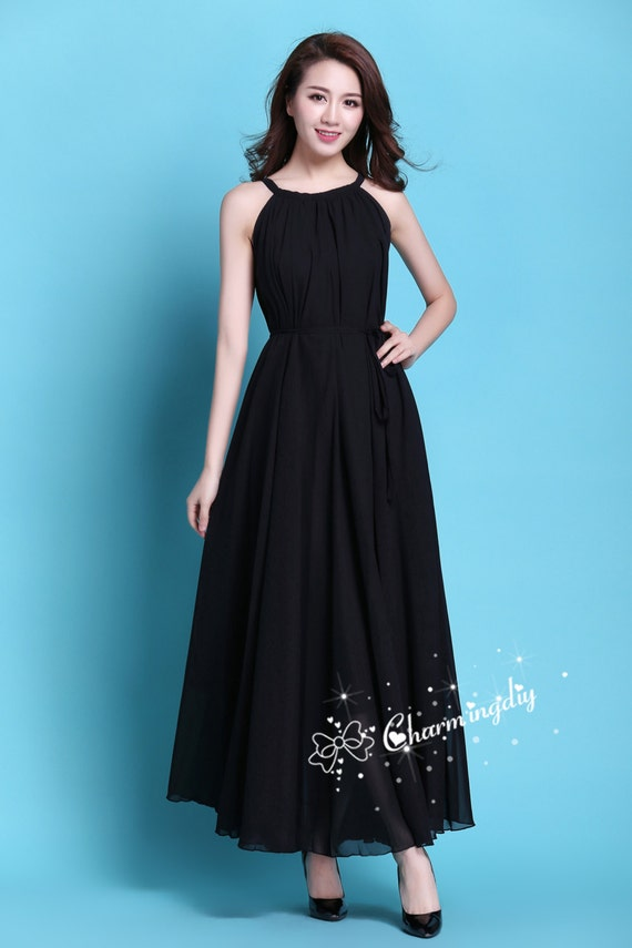 60 Colors Chiffon Black Long Party Dress Evening Wedding